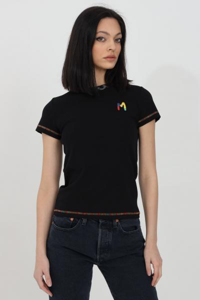 MISSONI T-shirt donna nera missoni a manica corta con logo frontale ricamato. Orli multicolor ricamati. Modello slim  T-shirt | 2DL00088-2J002U93911
