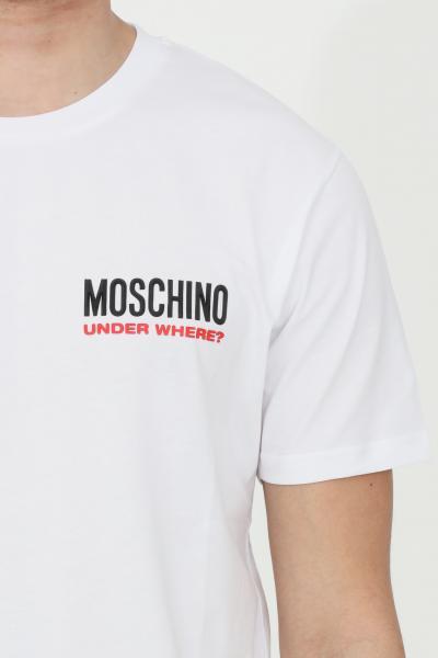 MOSCHINO T-shirt uomo bianca moschino a manica corta con logo frontale. Regular fit  T-shirt   A192281250001