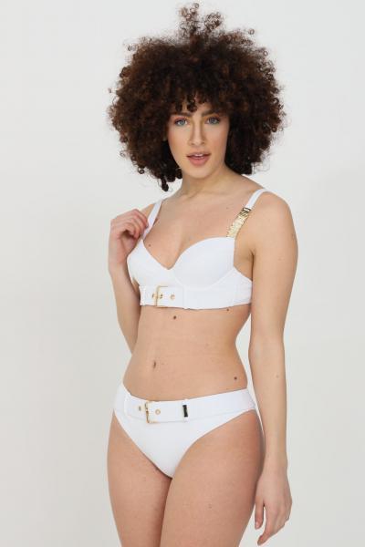 MOSCHINO Beachwear costume donna bianco moschino slip mare con cintura in tinta unita e fibbia oro. Dettagli color oro, dettaglio occhiello, vestibilità slim  Abbigliamento da spiaggia   A713555080001