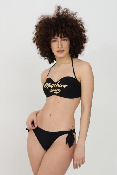 MOSCHINO Beachwear costume donna nero moschino slip mare con logo oro sul retro. Chiusura sui fianchi  Abbigliamento da spiaggia   V712351690555