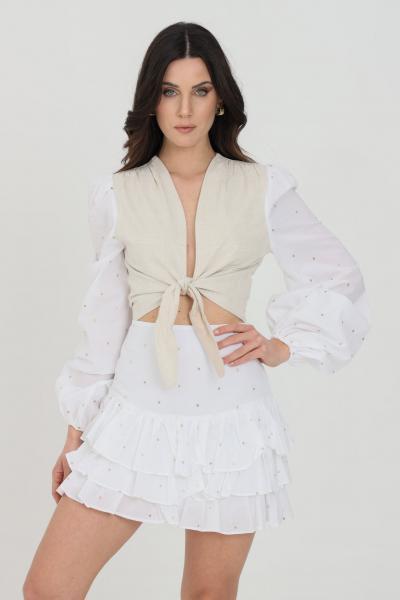 NBTS Top donna panna nbts casual a manica lunga, chiusura frontale con fiocco. Polsini elastici e ricami oro  Top | NB21009.
