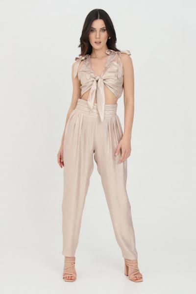 NBTS Pantalone donna crema nbts casual laminati modello balloon. Vita alta elastica senza passanti  Pantaloni | NB21013CREMA