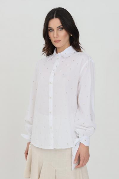 NBTS Camicia donna bianca nbts casual con ricami gold a pois, chiusura frontale con bottoni e chiusura polsini con fiocco  Camicie | NB21017BIANCO