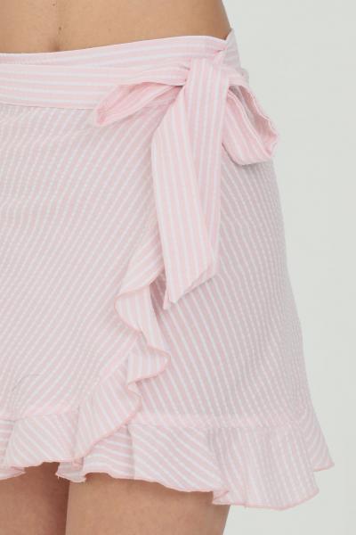 NBTS Gonna donna rosa nbts corta con balze e chiusura a incrocio con fiocco  Gonne | NB21031ROSA