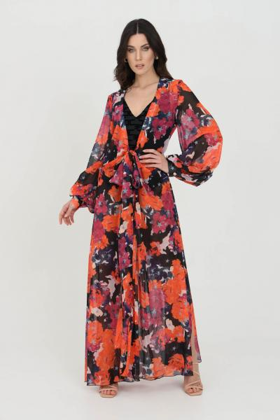NBTS Cardigan donna fucsia multicolor nbts lungo con cintura in vita. Modello stampato a fondo dritto ampio. Maniche lunghe e polsini elastici  Cardigan | NB21033FUXIA
