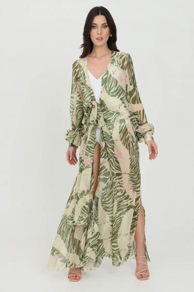 NBTS Cardigan donna verde multicolor nbts lungo con cintura in vita. Modello stampato a fondo dritto ampio. Maniche lunghe e polsini elastici  Cardigan | NB21033VERDE