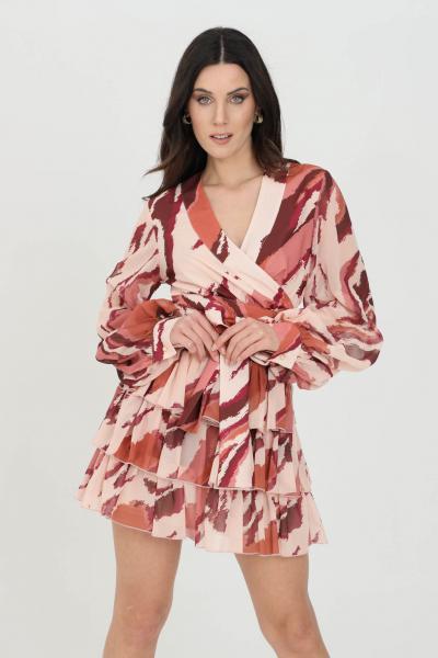NBTS Camicia donna multicolor nbts casual con cintura in vita stampata. Incrocio sul fronte. Fondo svasato, maniche lunghe ampie  Camicie | NB21034ZEBRA