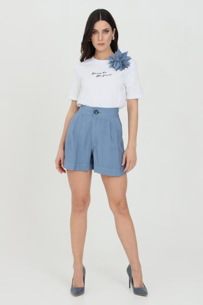 NBTS Shorts donna azzurro nbts casual classic a vita alta con chiusura con bottone e zip  Shorts | NB21053AVION