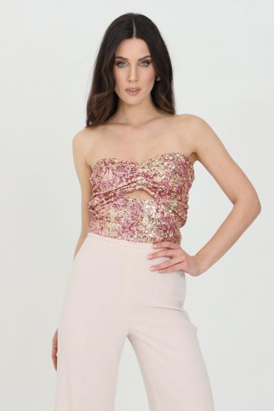 NBTS Top donna rosa multicolor nbts corpetto con paillettes. Schiena scoperta, senza chiusure  Top | NB21056.