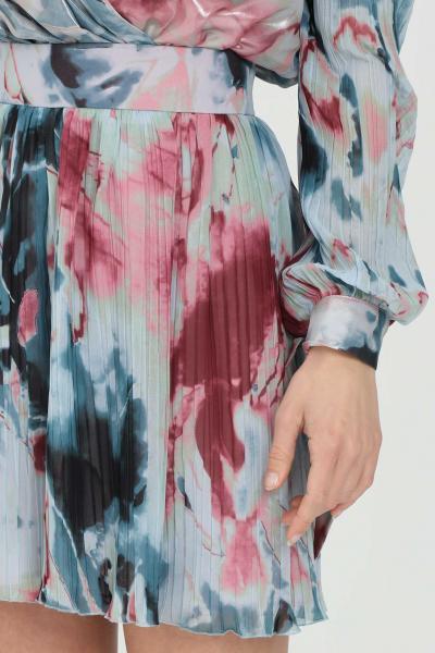 NBTS Shorts donna multicolor nbts casual a vita alta con stampa allover. Modello comodo plissettato e fondo svasato  Shorts | NB21092.