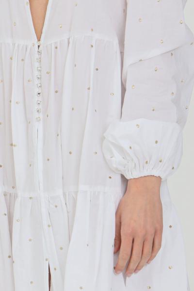 NBTS Abito donna bianco nbts corto svasato con maxi scollo. Stampa minimal a pois, manica lunga con elastico ai polsini. Chiusura con bottoni gioiello  Abiti | NB21095BIANCO