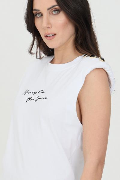 NBTS T-shirt donna bianca nbts smanicato con spalline, logo frontale con strass e stampa sul retro. Applicazione bottoni sulla spalla  T-shirt | NB21104.