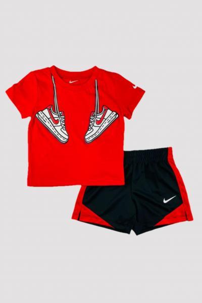 NIKE Completino neonato rosso-nero nike con stampa sneakers  Completini   66H360-02323