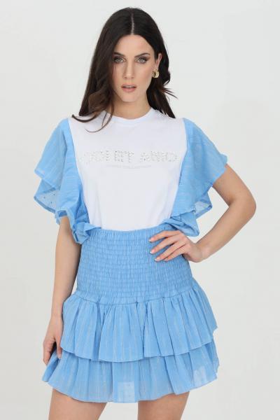ODI ET AMO T-shirt donna bianco-celeste odi et amo a manica corta con applicazione strass frontale e rouches laterali  T-shirt | 004T1CELESTE