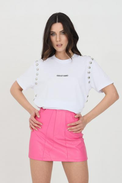 ODI ET AMO T-shirt donna bianca odi et amo a manica corta con logo frontale e applicazione borchie  T-shirt | 039T1BIANCO