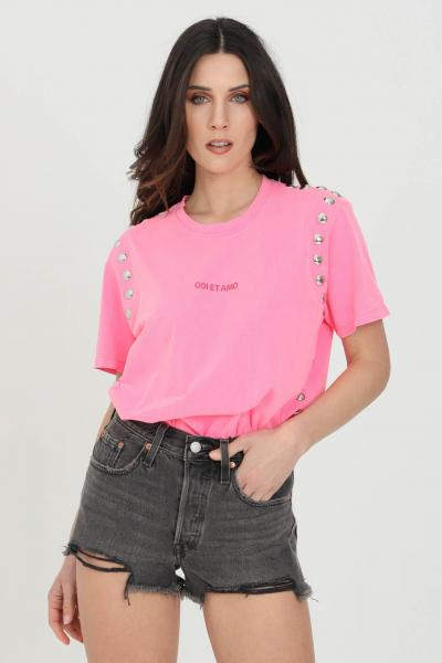 ODI ET AMO T-shirt donna fucsia odi et amo a manica corta con logo frontale e applicazione borchie  T-shirt | 039T1FUXIA