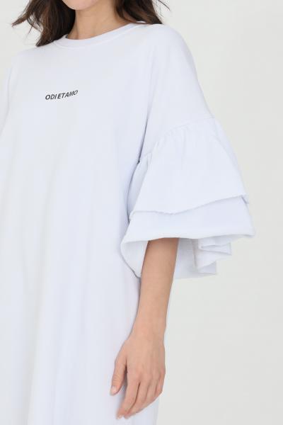 ODI ET AMO Abito donna bianco odi et amo corto con doppio volant. Logo stampato in piccole dimensioni sul fronte. Vestibilità comoda  Abiti | 044T1BIANCO