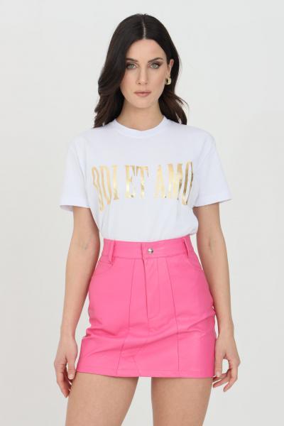 ODI ET AMO T-shirt donna bianca odi et amo a manica corta con logo frontale in oro  T-shirt | 076T1BIANCO
