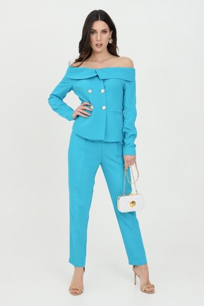 PINKO Pantalone donna azzurro pinko elegante a vita alta in crêpe stretch  Pantaloni | 1G15P3-8385U98