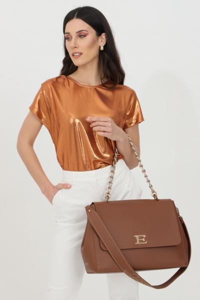 Blusa donna arancio Pinko laminata girocollo con manica corta e fondo ampio. Modello comodo  Bluse | 1G15TC-Y63DB05