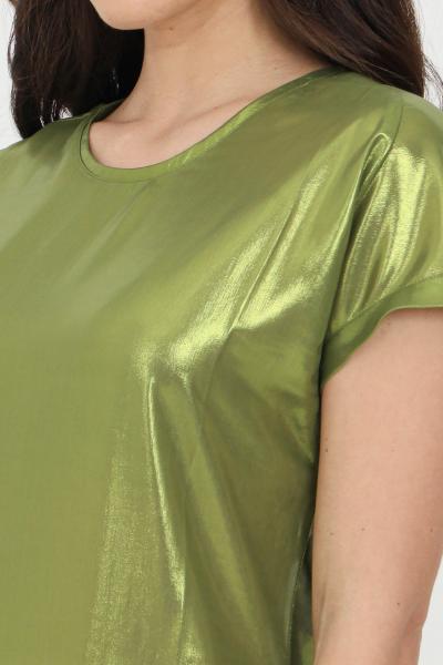 PINKO Blusa donna lime Pinko laminata girocollo con manica corta e fondo ampio. Modello comodo  Bluse | 1G15TC-Y63DT56