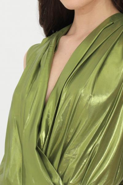 PINKO Body donna lime Pinko elegante in georgette laminata. Scollo a V con plisset frontale. Chiusura con ciappe. Modello slim  Body   1G15TD-Y63DT56