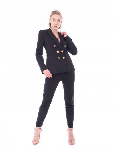 PINKO Giacca donna nera pinko doppiopetto in punto stoffa con bottoni oro frontale  Tailleur | 1G15TQ-5872Z99