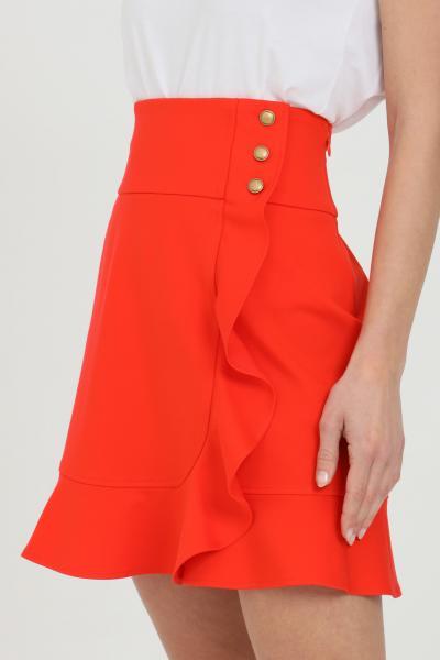 PINKO Gonna donna rossa pinko corta con chiusura a portafoglio e rouches. Chiusura con bottoni  Gonne | 1G15VE-5872R25