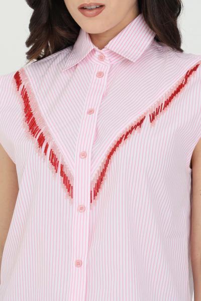 PINKO Camicia donna rosa pinko in popeline di cotone a righe con frange di perline applicate sul davanti. Modello senza maniche. Colletto classico e chiusur  Camicie | 1G15WC-8427ZN3