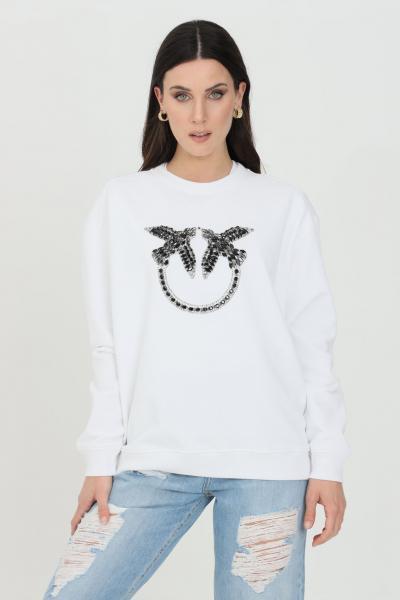 PINKO Felpa Love Birds donna bianca pinko a girocollo con strass frontali  Felpe | 1G160Y-Y722ZZ1
