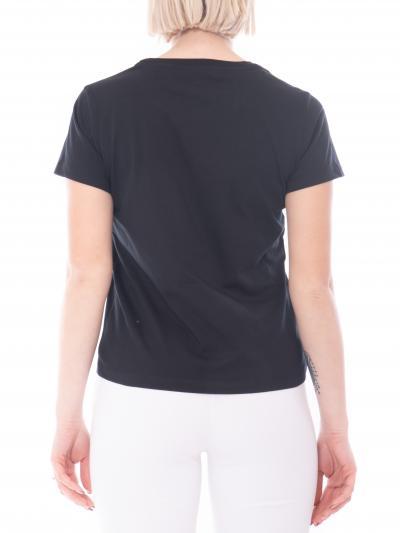 PINKO T-shirt donna nera pinko a manica corta a girocollo con mini logo frontale. Modello comodo  T-shirt | 1G1649-Y4LXZ99
