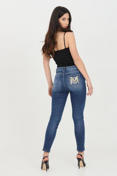 PINKO Jeans donna in denim pinko a vita alta con paillettes sul retro. Lavaggio stone wash e 5 tasche. Modello skinny  Jeans | 1J10KH-Y6KWG10