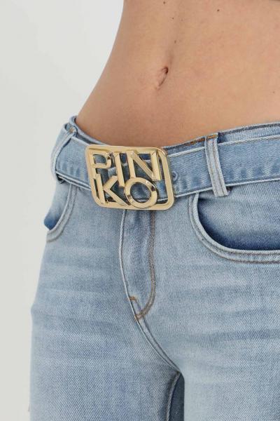 PINKO Jeans donna in denim blue pinko skinny a vita bassa, modello a zampa. Cintura con applicazione gold in acciaio  Jeans   1J10NS-Y751G14