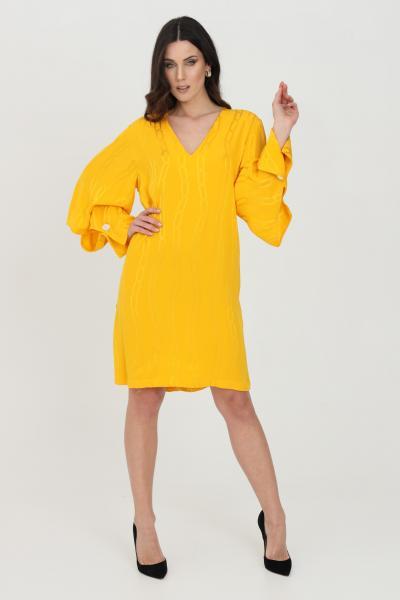 SIMONA CORSELLINI Abito donna giallo-arancio simona corsellini corto con stampa catena. Scollo a V con maniche lunghe svasate  Abiti   P21CPAB043-01-TJAQ00200501