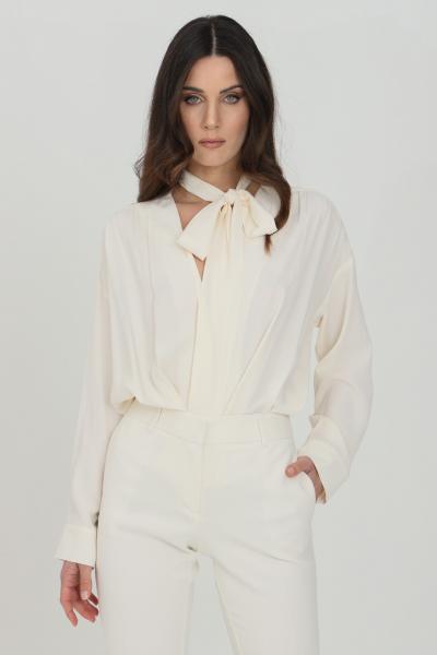 SIMONA CORSELLINI Body camicia donna panna simona corsellini elegante in misto seta  Body   P21CPBD005-01-TACE00020359