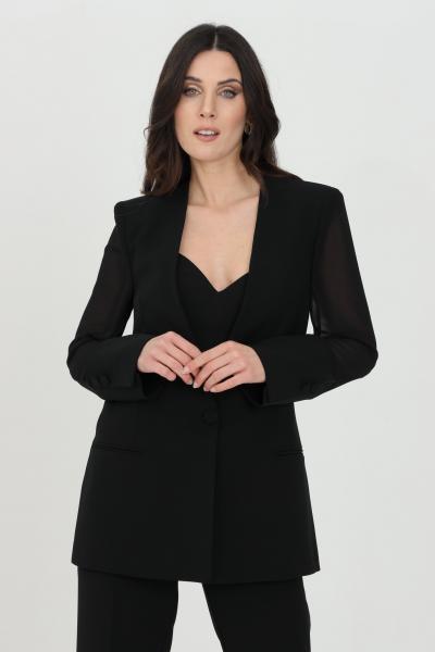SIMONA CORSELLINI Giacca donna nera simona corsellini con inserti in organza, leggera trasparenza. Chiusura con bottone  Giacche   P21CPGI006-01-TCRP00020003
