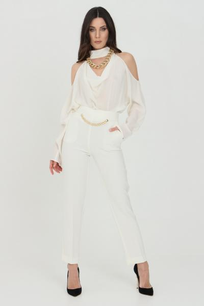 SIMONA CORSELLINI Pantalone donna panna simona corsellini elegante classic con catena in vita  Pantaloni   P21CPPA026-01-TCRP00020359
