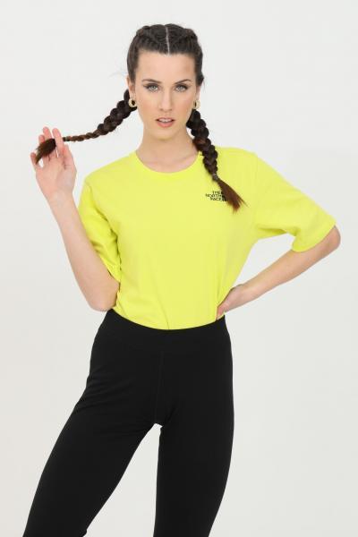 THE NORTH FACE T-shirt simple basic donna giallo the north face a manica corta. Girocollo a costine e trasparenza leggera  T-shirt | NF0A4CESJE31JE31