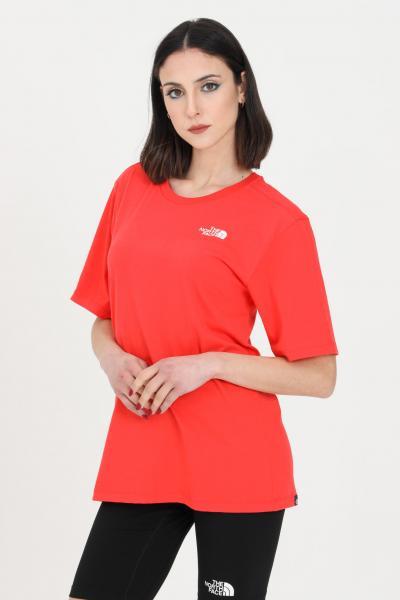 THE NORTH FACE T-shirt simple basic donna rosso the north face a manica corta. Girocollo a costine e trasparenza leggera  T-shirt | NF0A4CESV331V331