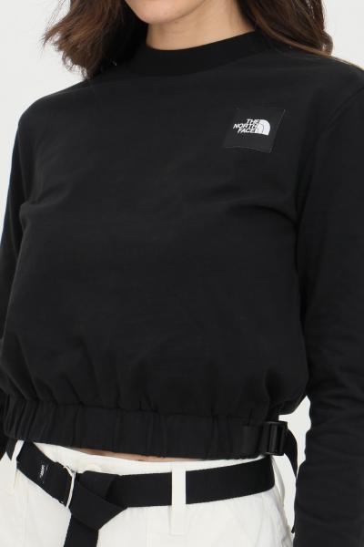 THE NORTH FACE Felpa donna nero the north face girocollo in tinta unita con patch logo frontale, taglio corto e coulisse sul fondo  Felpe | NF0A557SJK31JK31