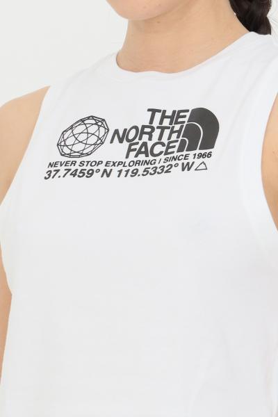 THE NORTH FACE T-shirt donna bianco the north face smanicato in tinta unita con logo a contrasto frontale, taglio corto  T-shirt   NF0A55V2FN41FN41