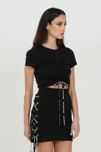 VERSACE JEANS COUTURE Gonna donna nera Versace Jeans Couture corta con incrocio laterale con lacci logati  Gonne | A9HWA31513988899