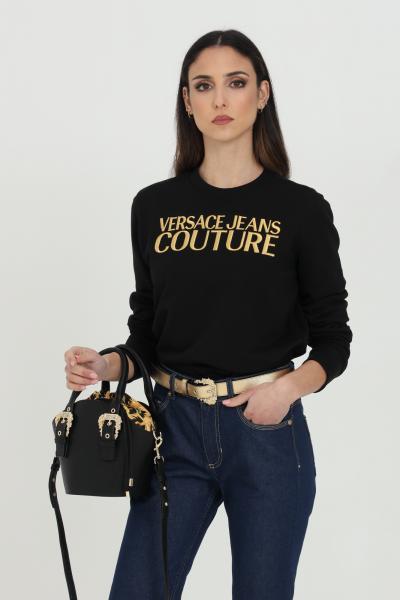 VERSACE JEANS COUTURE Felpa donna nera versace jeans couture girocollo con logo ricamato frontale in oro  Felpe | B6HWA7TS30318K42