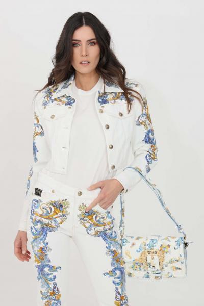 VERSACE JEANS COUTURE Giubbotto donna bianco versace jeans couture in denim  Giubbotti | C0HWA92PSS054E70
