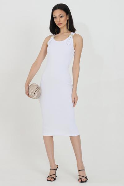 VERSACE JEANS COUTURE Abito donna bianco versace jeans couture midi a costine con fibbie oro  Abiti | D2HWA43910615003
