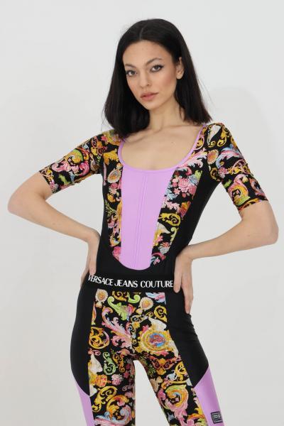 VERSACE JEANS COUTURE Body donna nero versace jeans couture casual con stampa barocca e manica 3/4  Body | D4HWA600S0096899