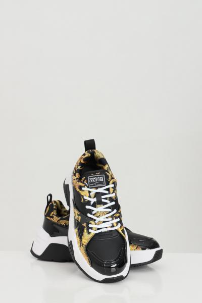 VERSACE JEANS COUTURE Sneakers LINEA FONDO SPEED DIS.31 donna nere versace jeans couture modello a calzino con logo a contrasto e stampa barocca  Sneakers | E0VWASF371953M27