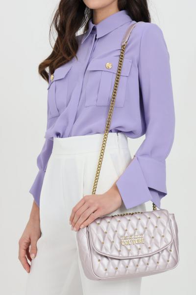 VERSACE JEANS COUTURE Borsa donna rosa versace jeans couture con tracolla in catena e logo frontale in oro. Chiusura con magnete  Borse | E1VWABQ171881426