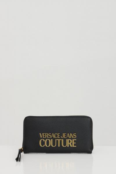 VERSACE JEANS COUTURE Portafoglio donna nero versace jeans couture con applicazione logo in metallo  Portafogli | E3VWAPL171879899