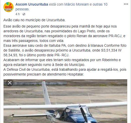 Avião monomotor desaparece em Urucurituba